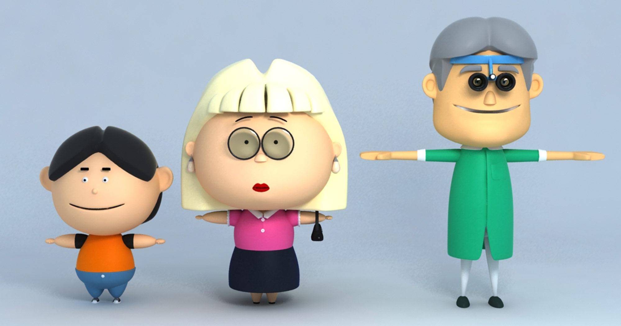 Esempio di T-Pose. I personaggi sono stati realizzati da Daniele Angelozzi